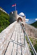 The Great Wall and Croatian flag on fortress, Ston, Dalmatian Coast, Croatia