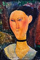 France, Paris (75), zone classée Patrimoine Mondial de l'UNESCO, les Tuileries, le musée de l'Orangerie, femme au ruban de velours, Amedeo Modigliani, vers 1915 // France, Paris, les Tuileries, museum of Orangerie, femme au ruban de velours, Amedeo Modigliani, vers 1915