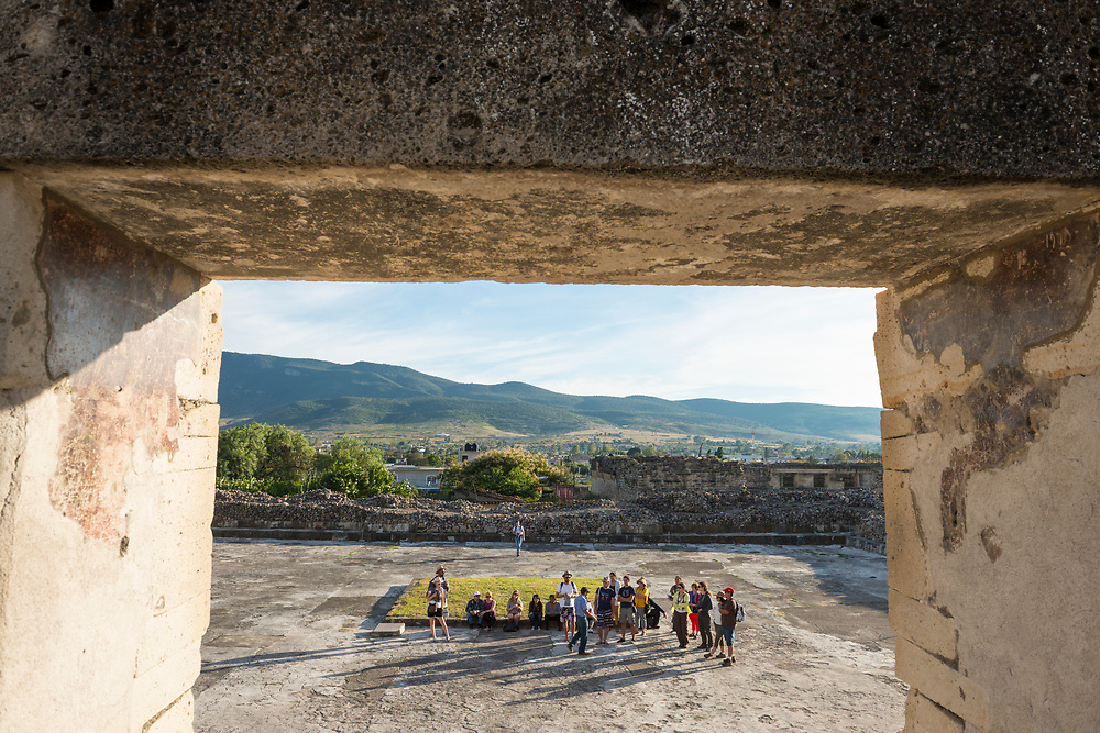 Tourists visit Mitla, an important Mesoamerican archeological site in the state of Oaxaca.