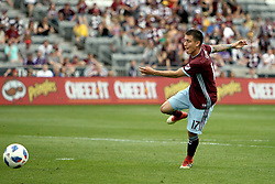 April 29, 2018 - Commerce City, Colorado - Colorado Rapids midfielder Dillon Serna (17) drills a shot in the second half of action in the MLS soccer game between Orlando City SC and the Colorado Rapids at Dick's Sporting Goods Park in Commerce City, Colorado (Credit Image: © Carl Auer via ZUMA Wire)