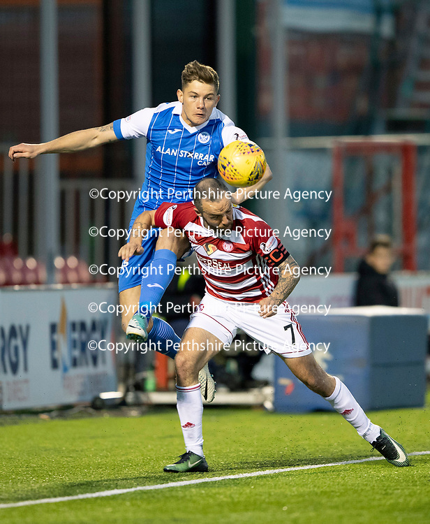 Hamilton Accies v St Johnstone…08.05.18…  New Douglas Park    SPFL<br />Callum Hendry gets above Dougie Imrie<br />Picture by Graeme Hart. <br />Copyright Perthshire Picture Agency<br />Tel: 01738 623350  Mobile: 07990 594431