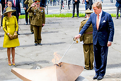 King Willem-Alexander and Queen Maxima of The Netherlands lay down a wreath at the Monument de la Solidarite Luxembourgeoise in Luxembourg 23 May 2018. The Dutch King and Queen are in Luxembourg for an three day state visit. Photo by Robin Utrecht/ABACAPRESS.COM
