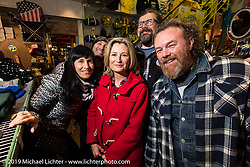 Giuseppe Roncen, Marie-Line Thioulouze, Blaster and friends at the Mooneyes shop and Japan HQ party after the annual Mooneyes Hot Rod and Custom Show. Japan. Monday, December 8, 2014. Photograph ©2014 Michael Lichter.