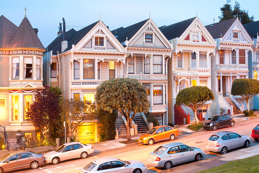 """San Francisco, California, United States  - March 15, 2012: Traditional Victorian Houses """"Painted Ladies"""" at Alamo Square."""