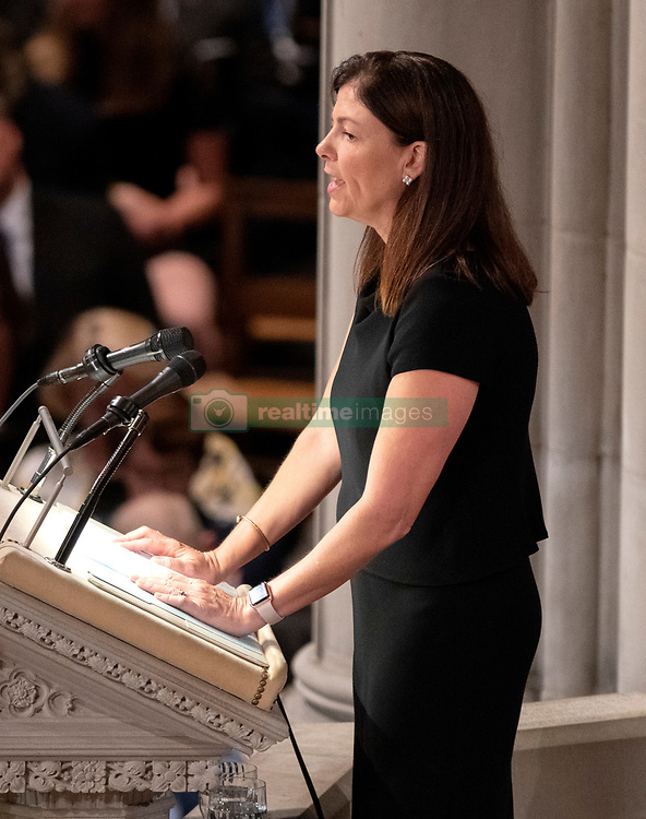 Former United States Senator Kelly Ayotte (Republican of New Hampshire) reads a passage at the funeral service for the late United States Senator John S. McCain, III (Republican of Arizona) at the Washington National Cathedral in Washington, DC, USA on Saturday, September 1, 2018. Photo by Ron Sachs/CNP/ABACAPRESS.COM