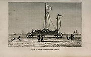Beach-scene with sand-yacht of Price Maurice of Nassau carrying twenty-two (of twenty-eight) passengers said to have travelled therein from Scheveningen to Pettem, from L'art Naval by Leon Renard, Published in 1881