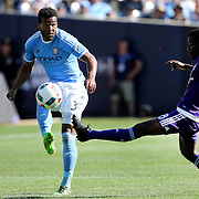NEW YORK, NEW YORK - May 29:  Ethan White #3 of New York City FC is challenged by Kevin Molino #18 of Orlando City FC during the New York City FC Vs Orlando City, MSL regular season football match at Yankee Stadium, The Bronx, May 29, 2016 in New York City. (Photo by Tim Clayton/Corbis via Getty Images)