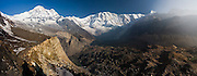 Morning views of Annapurna South and Annapurna I from Annapurna Base Camp, Himalaya Mountains, Nepal.