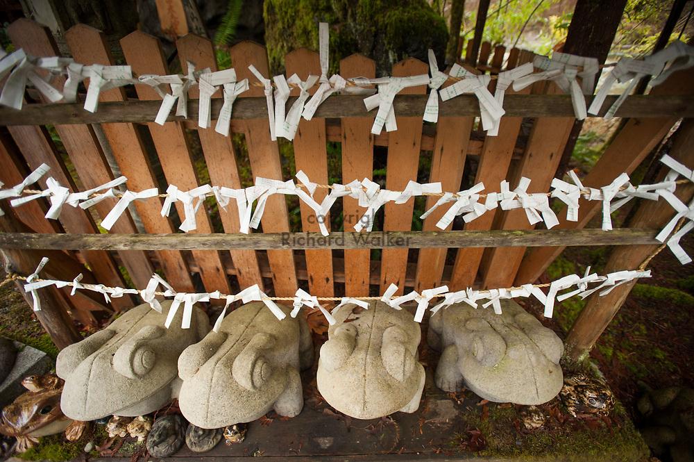 2014 January 01 - Omikuji fortunes tied to rope, Tsubaki Grand Shrine, Granite Falls, WA. New Years Hatsumode. By Richard Walker