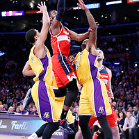27 January 2015: Washington Wizards guard John Wall (2) goes for the layup past Los Angeles Lakers center Jordan Hill (27) and Los Angeles Lakers guard Jordan Clarkson (6) during the Washington Wizards 98-92 victory over the Los Angeles Lakers, at the Staples Center, Los Angeles, California, USA.