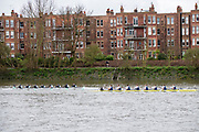 Hammersmith, Greater London, 15th March 2020, Inaugural Men's Lightweight Boat Race, Oxford University Lightweight Mmen, [Blue Boat], take just under a length, over Cambridge University Lightweight Men's BC, as both crews pass, approach to Hammersmith Bridge, Championship Course, Putney to Mortlake, River Thames, [Mandatory Credit: Peter SPURRIER/Intersport Images],