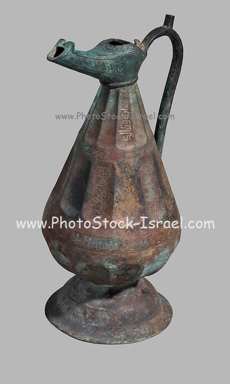 Islamic copper jug with silver inlay and Arabic inscription 16th-18th century CE 35.2 cm