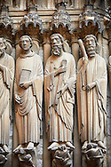 South Porch, central Portal c. 1194-1230,  Cathedral of Notre Dame, Chartres, France. Gothic statues of from left to right they are .Paul, John, James Major and James Minor. A UNESCO World Heritage Site. . .<br /> <br /> Visit our MEDIEVAL ART PHOTO COLLECTIONS for more   photos  to download or buy as prints https://funkystock.photoshelter.com/gallery-collection/Medieval-Middle-Ages-Art-Artefacts-Antiquities-Pictures-Images-of/C0000YpKXiAHnG2k