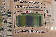 An aerial view of Winner Circle Field, Sunday, Jan. 17, 2021, in Eastvale, Calif.