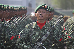 October 3, 2017 - Banten, Banten, India - Indonesian military, conduct the last preparation for commemorating the 72nd National Military Day at the Indah Kiat harbour, Banten Province. In the commemoration of National Military Day this year, which will take place on October 5, Indonesia will feature a number of the latest weaponry equipment, such as AH-64E Apache helicopters, Changbogo class submarine, and Kaplan medium tank prototype from cooperation of Indonesian defense industry, PT. Pindad with Turkish defense industry FNSS. (Credit Image: © Aditya Irawan/NurPhoto via ZUMA Press)