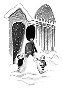 (Two little boys cover a busby-wearing soldier standing guard with snow)