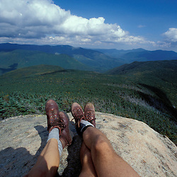 Backpacking. On the summit of Mt. Liberty, looking into the Pemigewasset Wilderness Area.  White Mountain N.F., NH