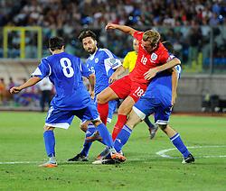 Harry Kane of England (Tottenham Hotspur) tries to force his was through the San Marino defence  - Mandatory byline: Joe Meredith/JMP - 07966386802 - 05/09/2015 - FOOTBALL- INTERNATIONAL - San Marino Stadium - Serravalle - San Marino v England - UEFA EURO Qualifers Group Stage