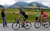 Sykkel<br /> Kuehtai Østerrike<br /> 30.06.2013<br /> Foto: Gepa/Digitalsport<br /> NORWAY ONLY<br /> <br /> 65. Internationale Oesterreich Rundfahrt, 1. Etappe, Innsbruck - Kuehtai. Bild zeigt Mathew Haymann (AUS/Sky Procycling) und Thor Hushovd (NOR/BMC Racing Team).