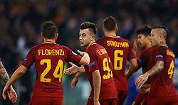 October 31, 2017 - Rome, Italy - Stephan El Shaarawy of Roma celebrating with Alessandro Florenzi of Roma  during the UEFA Champions League football match AS Roma vs Chelsea on October 31, 2017 at the Olympic Stadium in Rome. (Credit Image: © Matteo Ciambelli/NurPhoto via ZUMA Press)