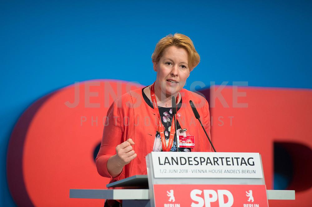 DEU, Deutschland, Germany, Berlin, 02.06.2018: Bundesfamilienministerin Dr. Franziska Giffey (SPD) beim Landesparteitag der Berliner SPD im Hotel Andels.