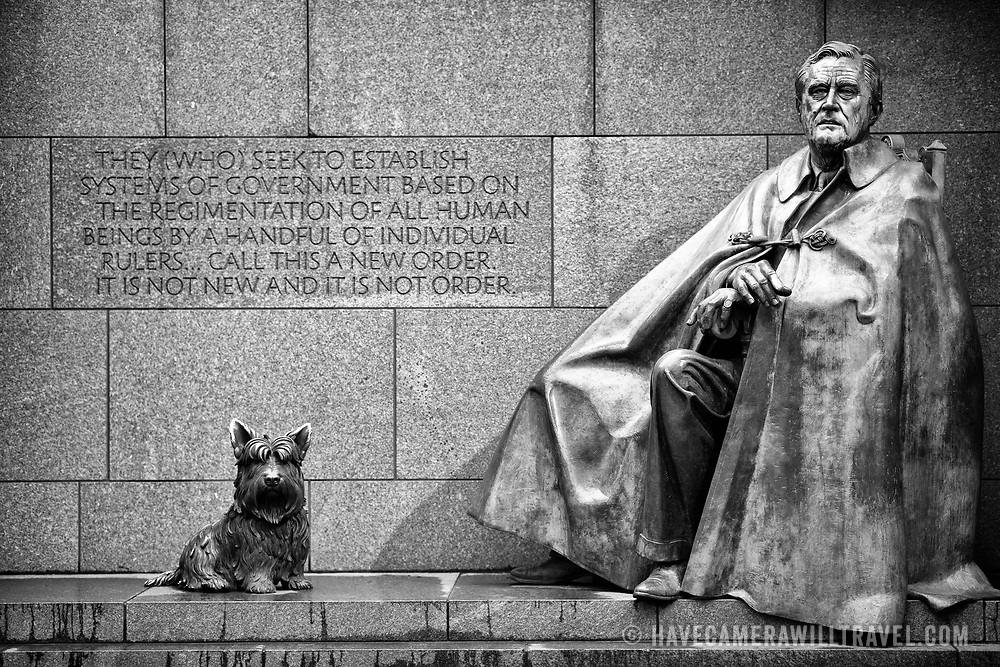 WASHINGTON, DC - A sculpture of FDR with his dog Fala. The Franklin Delano Roosevelt Memorial is a presidential memorial in Washington D.C., dedicated to the memory of Franklin Delano Roosevelt, the 32nd President of the United States, and to the era he represents. FDR was president from 1933 to 1945, through the Great Depression and the Second World War. It sits on the banks of the Tidal Basin, next to Washington DC's National Mall.