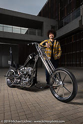 Cherry's Company's Kaichiroh Kross Kurosu with his latest custom - a 1967 Harley-Davidson Shovelhead chopper he calls the Black Stallion that had just won the Best Chopper award at Mooneyes. Photographed near his Cherry's Company shop in Tokyo during a stop on our Japan tour after Mooneyes. Monday, December 3, 2018. Photography ©2018 Michael Lichter.