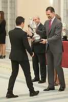 King Felipe VI of Spain awards Javier Gomez during the 2013 Sports National Awards ceremony at El Pardo palace in Madrid, Spain. December 03, 2014. (ALTERPHOTOS/Victor Blanco)