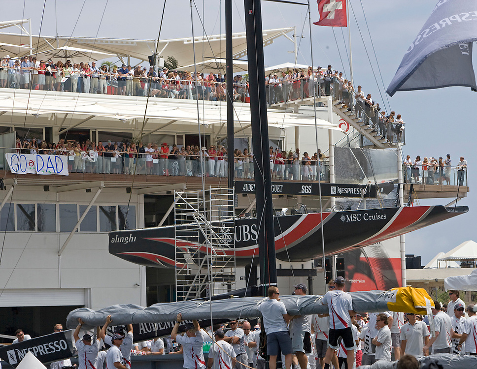 Day 1, Leaving the Harbour<br /> 32nd America's Cup, 2007<br /> Valencia, Spain<br /> © Daniel Forster