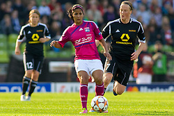 17.05.2012, Olympiastadion, Muenchen, GER, UEFA CL, Finale Damen, Olympic Lyon (FRA) vs FFC Frankurt (GER), im Bild Lyon's Costa Rican midfielder Shirley Cruz Traña and Frankfurt's German midfielder Melanie Behringer in action during the UEFA Champions League final for women played at the Olympia Stadion and contested by Olympic Lyon from France and FFC Frankurt from Germany, Germany on 2012/05/17 . EXPA Pictures © 2012, PhotoCredit: EXPA/ Mitchel Gunn