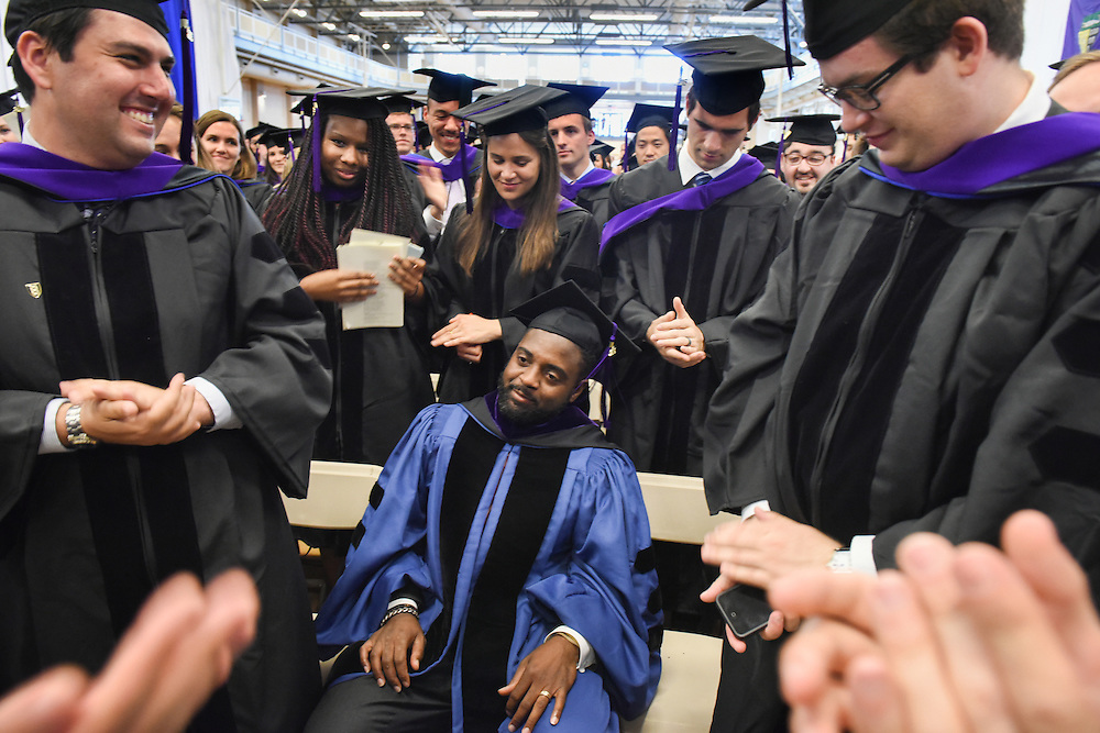 May 23, 2016 New Haven<br /> The Yale Law School during commencement exercises. Reginald Dwayne Betts is recognized by his fellow graduates.