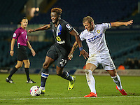 Blackburn Rovers' Hope Akpan tries to get away from Leeds United's Liam Cooper<br /> <br /> Photographer Alex Dodd/CameraSport<br /> <br /> The EFL Cup Third Round - Leeds United v Blackburn Rovers - Tuesday 20 September 2016 - Elland Road - Leeds<br />  <br /> World Copyright © 2016 CameraSport. All rights reserved. 43 Linden Ave. Countesthorpe. Leicester. England. LE8 5PG - Tel: +44 (0) 116 277 4147 - admin@camerasport.com - www.camerasport.com
