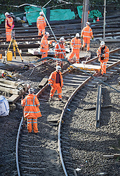 © Licensed to London News Pictures. 13/11/2016. Croydon, UK. Engineers work to restore the line at the site where seven people died and 50 were injured when a tram rolled over on Wednesday 9th November. Photo credit: Peter Macdiarmid/LNP