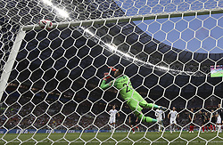 MOSCOW, July 11, 2018  Goalkeeper Danijel Subasic of Croatia fails to save the ball during the 2018 FIFA World Cup semi-final match between England and Croatia in Moscow, Russia, July 11, 2018. Croatia won 2-1 and advanced to the final. (Credit Image: © Cao Can/Xinhua via ZUMA Wire)