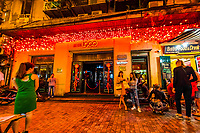 A narrow walking street called Ta Hien Street features small local restaurants and bars that are popular with foreign tourists as well as locals. Hanoi, northern Vietnam.