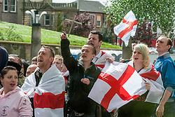 EDL members and supporters chant at UAF members from  All Saints Square near Rotherham Minster during Saturdays  EDL rally in South Yorkshire  in Rotherham Town Centre <br /> <br /> May 10 2014<br /> Image © Paul David Drabble <br /> www.pauldaviddrabble.co.uk