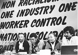 Cosatu congress, top table. Left to right: Chris Dlamini (vice president), Sydney Mafumadi (assistant general secretary), Elijah Barayi (president) and Jay Naidoo (general secretary). Pic: Philip Littleton. 15/07/1987. © Times Media