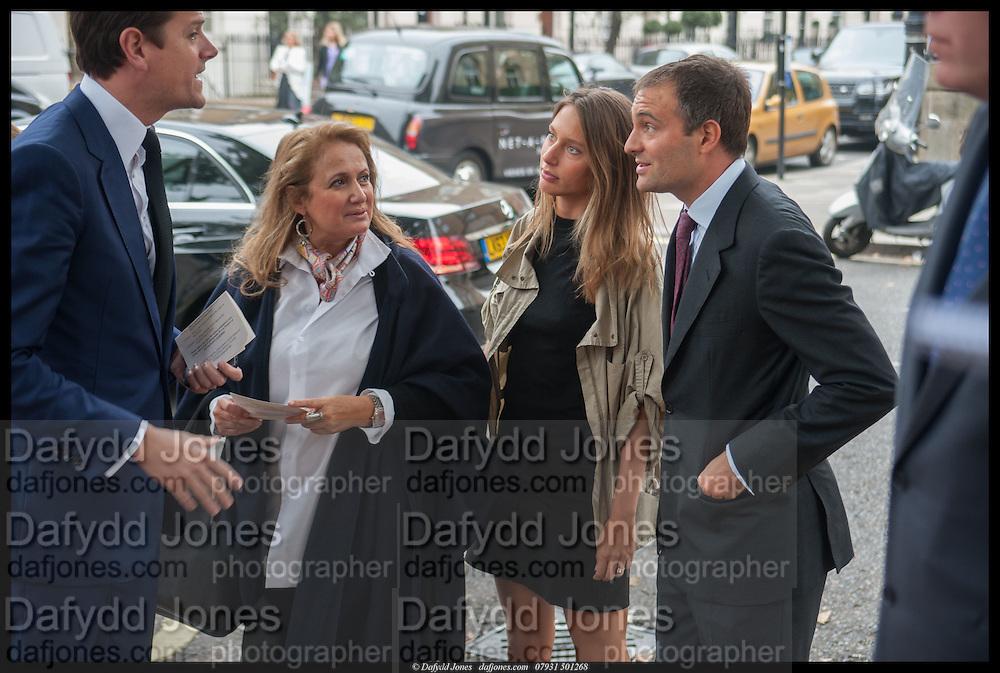 LORD ALEXANDER SPENCER-CHURCHILL; ISOBEL GOLDSMITH; JEMIMA JONES; BEN GOLDSMITH, Memorial service for Mark Shand.  . St. Paul's Knightsbridge. September 11 2014.