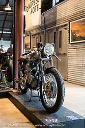 Sofi Tsingos' GT-Moto 1960's Triton (Triumph-Norton) on Sunday at the Handbuilt Motorcycle Show. Austin, TX. April 12, 2015.  Photography ©2015 Michael Lichter.