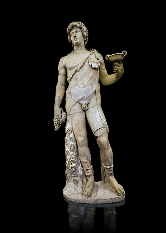 Roman marble sculpture of Antinous as Bacchus, a 2nd century AD, inv no 6314 Farnese Collection, Naples Archaeological Muueum ..<br /> <br /> If you prefer to buy from our ALAMY STOCK LIBRARY page at https://www.alamy.com/portfolio/paul-williams-funkystock/greco-roman-sculptures.html . Type -    Naples    - into LOWER SEARCH WITHIN GALLERY box - Refine search by adding a subject, place, background colour, etc.<br /> <br /> Visit our ROMAN WORLD PHOTO COLLECTIONS for more photos to download or buy as wall art prints https://funkystock.photoshelter.com/gallery-collection/The-Romans-Art-Artefacts-Antiquities-Historic-Sites-Pictures-Images/C0000r2uLJJo9_s0