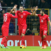 Turkey's Burak Yilmaz (C) celebrate his goal with team mate during their UEFA Euro 2016 qualification Group A soccer match Turkey betwen Kazakhstan at AliSamiYen Arena in Istanbul November 16, 2014. Photo by Kurtulus YILMAZ/TURKPIX