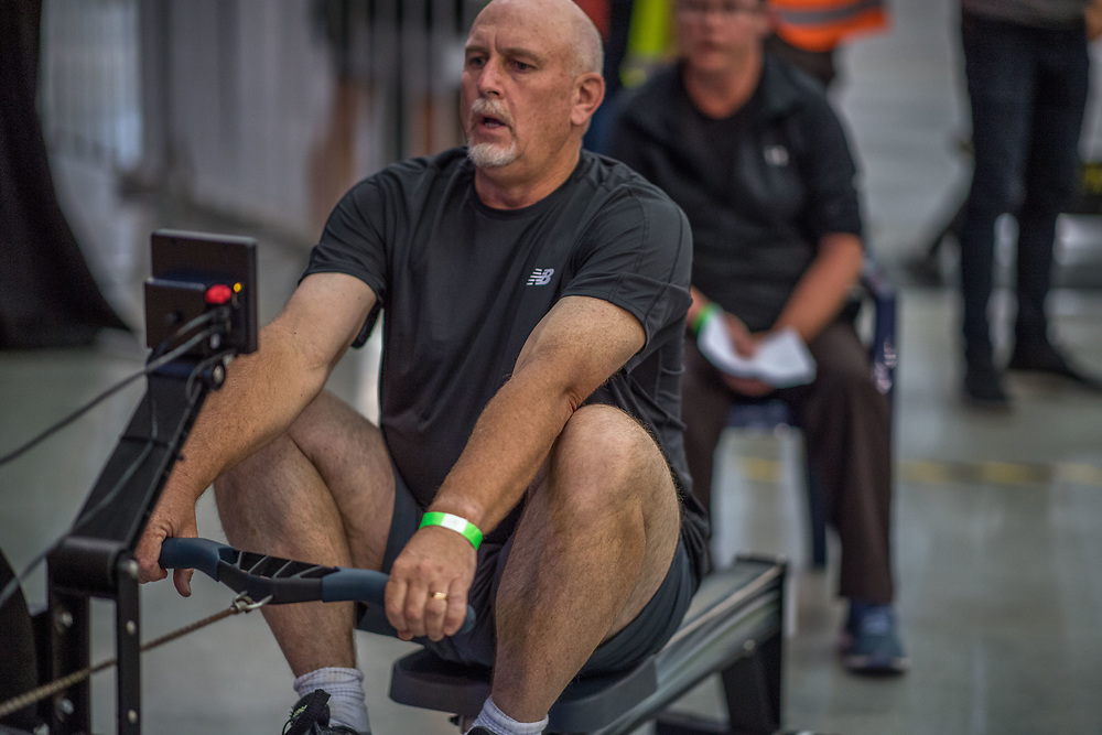 Richard Shaw MALE HEAVYWEIGHT Masters D 2K Race #2  08:45am <br /> <br /> www.rowingcelebration.com Competing on Concept 2 ergometers at the 2018 NZ Indoor Rowing Championships. Avanti Drome, Cambridge,  Saturday 24 November 2018 © Copyright photo Steve McArthur / @RowingCelebration