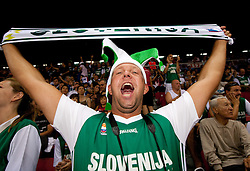 Fans of Slovenia during the Preliminary Round - Group B basketball match between National teams of USA and Slovenia at 2010 FIBA World Championships on August 29, 2010 at Abdi Ipekci Arena in Istanbul, Turkey.  (Photo by Vid Ponikvar / Sportida)