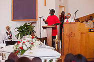 """Kevin's Brother, """"Bam,"""" speaking.<br /> Funeral services for Kevin """"Flipside"""" White at Macedonia Church in Watts.<br /> White was shot dead in what is believed to be an unprovoked attack during a gang conflict at Watts' Nickerson Gardens and Jordan Downs housing projects.<br /> Flipside, 44, was a founding member of Watts' first major label hip hop act, O.F.T.B. (Operation From The Bottom)."""