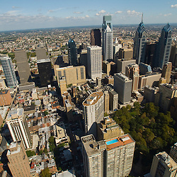 Aerial view of Rittenhouse Square Philadelphia Skyline as seen in 2013