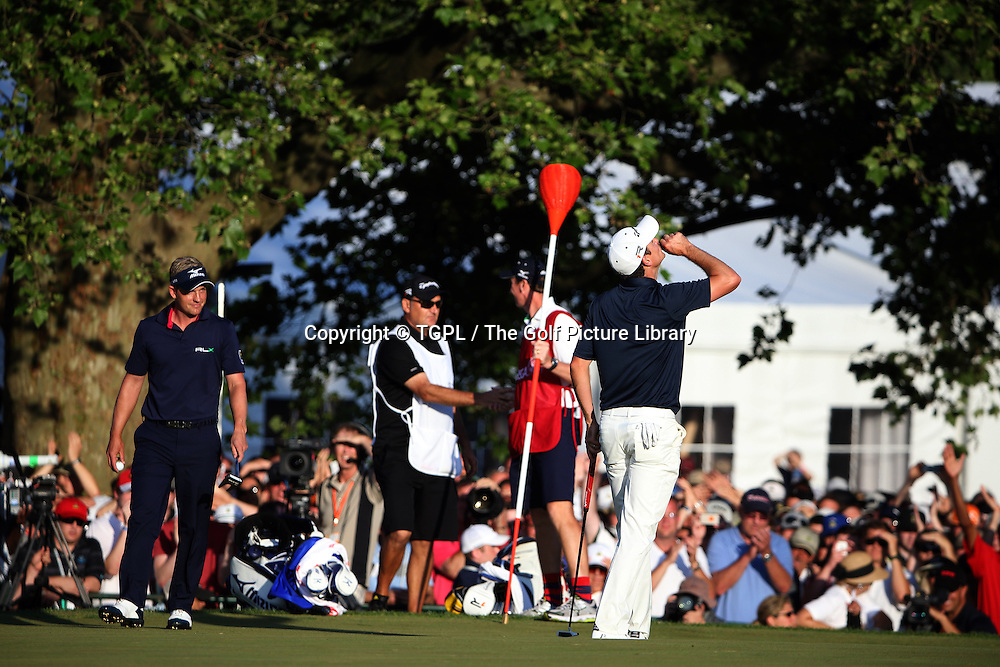 Justin ROSE (ENG) blows a kiss to his late father towards the heavens during fourth round  US Open Championship 2013,Merion,East Course,Ardmore,PA,USA.
