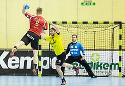 Julian Krieg  of Winterthur vs Senjamin Buric of RK Gorenje during handball match between RK Gorenje Velenje (SLO) and Pfadi Winterthur (SUI) in Group Phase of EHF European Cup 2014/15, on March 8, 2015 in Rdeca dvorana, Velenje, Slovenia. Photo by Vid Ponikvar / Sportida