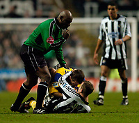 Fotball<br /> England 2004/22005<br /> Foto: SBI/Digitalsport<br /> NORWAY ONLY<br /> <br /> Newcastle United v Southampton<br /> Barclays Premiership, 15/01/2005.<br /> <br /> Newcastle's Lee Bowyer (R) scraps with Southampton's Neil McCann as referee Uriah Rennie tries to separate them.