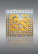 Birds around a  vase From Daphne, a suburb of Antioch, Antakya, Turkey, 1st half of 3rd century AD. Marble cubes, limestone and glass. A border of geometric perspective cubes surround a scene with one bird sitting on the vase of Daphne whilst the other surround it. The naturalistic skill of the Roman Antioch mosaic artists is so good that it is possible to tell the species of each bird. inv 3461, Louvre Museum, Paris .<br /> <br /> If you prefer to buy from our ALAMY PHOTO LIBRARY  Collection visit : https://www.alamy.com/portfolio/paul-williams-funkystock/roman-mosaic.html - Type -   Louvre    - into the LOWER SEARCH WITHIN GALLERY box. Refine search by adding background colour, place, museum etc<br /> <br /> Visit our ROMAN MOSAIC PHOTO COLLECTIONS for more photos to download  as wall art prints https://funkystock.photoshelter.com/gallery-collection/Roman-Mosaics-Art-Pictures-Images/C0000LcfNel7FpLI