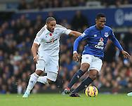 Everton's Samuel Eto'o tussles with Swansea's Ashley Williams<br /> <br /> Barclays Premier League- Everton vs Swansea City - Goodison Park - England - 1st November 2014 - Picture David Klein/Sportimage